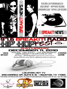 97.6 BreakIt! Radio HIP HOP FEST at HOT TV Dec 11, 2010