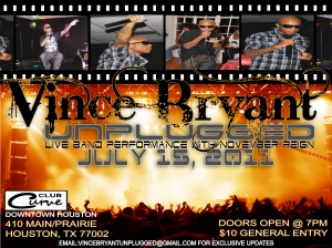 """Vince Bryant Unplugged with Live Band """"November Reign"""""""